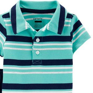Carter's Polo Turquoise Striped Body Suit Size 9m